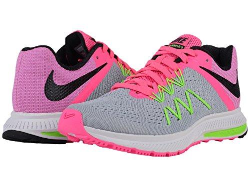 Nike Donna Zoom Winflo 3 Scarpa Da Corsa Wlf Gry / Blk / Pnk Blast / Elctrc Gr