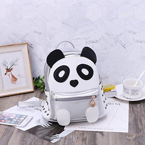 Women Bronze Panda Teens Casual Cartoon Bag Kofun Travel Backpack Mini Girls Bookbags Bag Shoulder Rivet Silver Book Bag w1fxcag8Xq