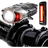 Super Bright USB Rechargeable Bike Light Set - Blitzu Gator 380 POWERFUL Bike Headlight - TAIL LIGHT INCLUDED 380 Lumens LED Front Light Set Waterproof Easy Installation for Cycling Safety Flashlight