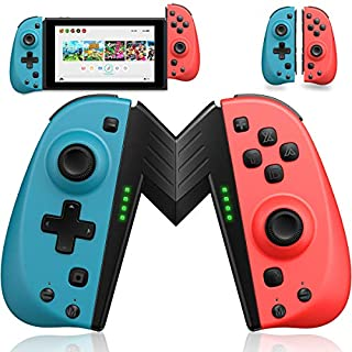 ECHTPower Joy Con Controller for Nintendo Switch, Replacement Joy con with Macro Button/Turbo/Vibration/Motion Functions, L/R Switch Controller Joypad, Nintendo Switch Controllers - Red and Blue