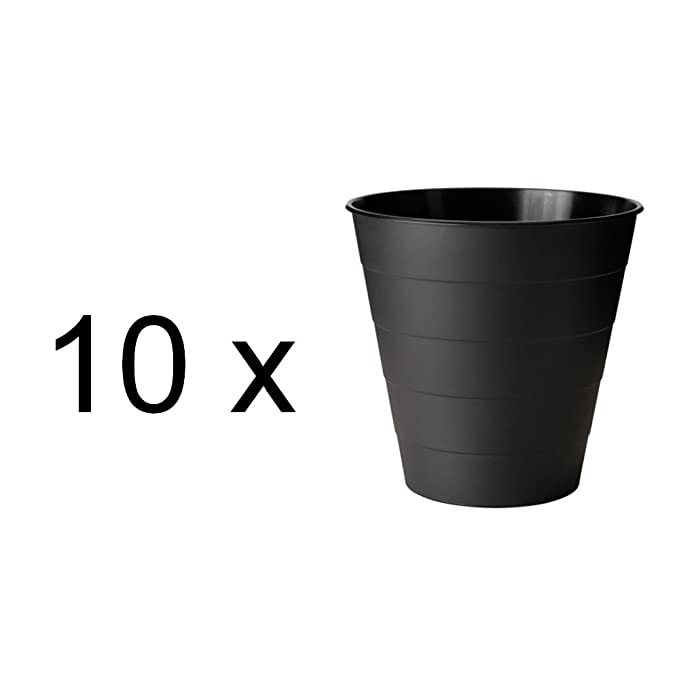 Inhalt 10 Liter IKEA Papierkorb Fniss M/ülleimer Aus Polypropylen H/öhe 28 cm Durchmesser 28 cm Schwarz
