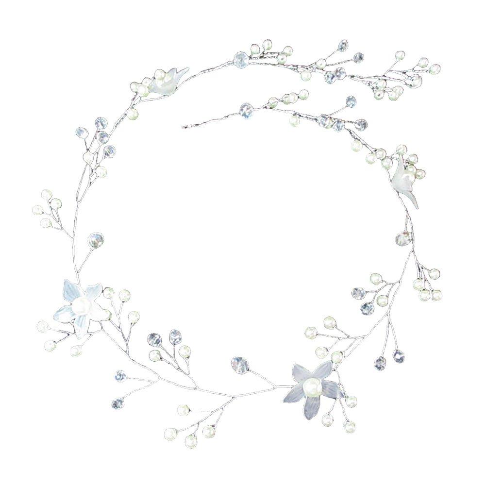StageOnline Coiffe de mariage de fleurs de vigne de cristal nuptiale, cinq accessoires de cheveux longs de perle de fleur shinebright