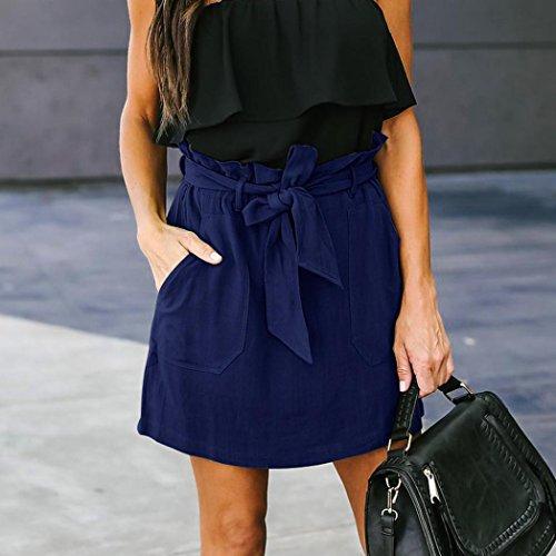 Spbamboo Clearance Sale! Womens Casaul Pocket Pure Color High Waist Summer Skirt by Spbamboo (Image #3)