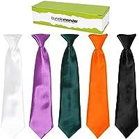 Bundle Monster 5pc Solid Color Boys Formal Wear Pre-Tied Polyester Necktie Set