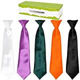 two color ties - Bundle Monster 5pc Solid Color Boys Formal Pre-Tied Polyester Neckties - Set 2, Bold Living