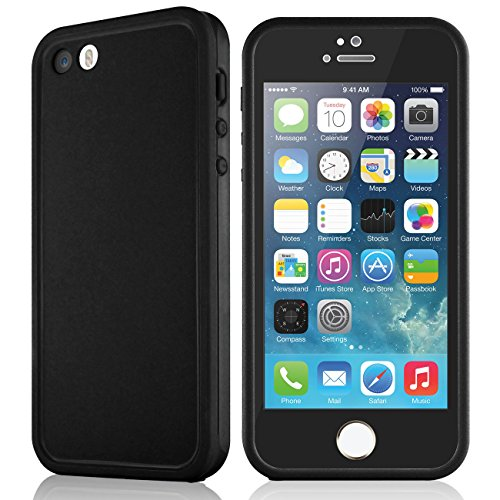 Waterproof case for iPhone 5 5S, eMobile Built-in Screen Protector Clear Face Plate Dust Dirt Proof Shockproof Ultra thin Silicone TPU Plastic Case Cover for Apple iPhone 5 5S (Black/Black) from E-Mobile