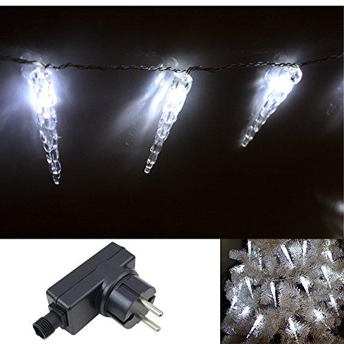 VINGO®230v Lichterkette LED weiß Eiszapfen 10M Eisregen Weihnachten Dekoration Steuerbox Acryl-Eiszapfen für Innen + Aussen Party 40Stück