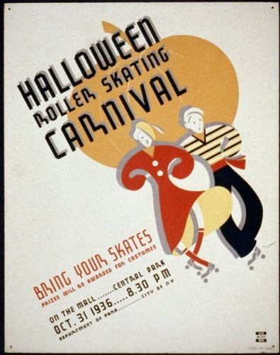 HistoricalFindings Photo: Halloween Roller Skating Carnival, York,NY,Central Park,1936
