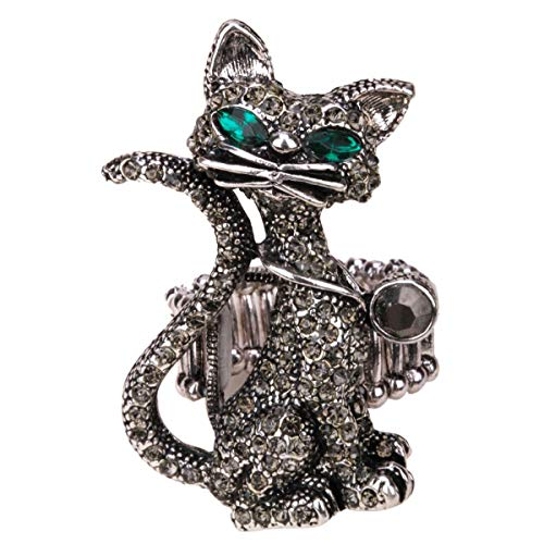 Hiddleston Adjustable Gothic Large Cat Kitten Stretch Rings Costume Black Halloween Jewelry Scarf Ring for Women … (Grey) -