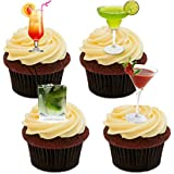Cocktail Mix Edible Cupcake Toppers - Stand-up Wafer Cake Decorations by Made4You