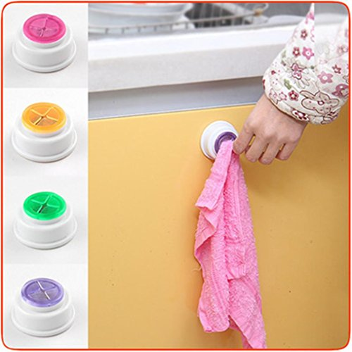 WensLTD_ Clearance! 1 PC Self Adhesive Push In Type Kitchen Dishcloth Bathroom Tea Towel Grip Holder (Green)