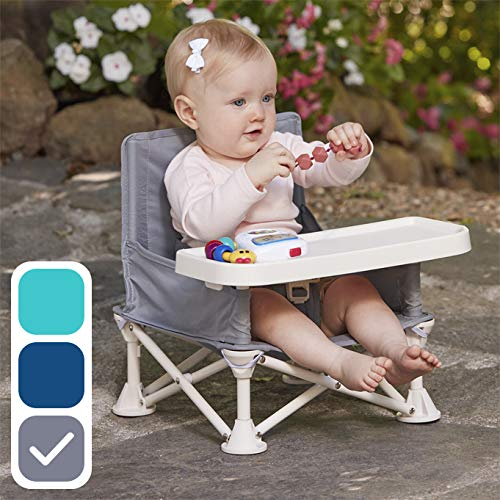 (hiccapop Omniboost Travel Booster Seat with Tray for Baby | Folding Portable High Chair for Eating, Camping, Beach, Lawn, Grandma's | Tip-Free Design Straps to Kitchen Chairs - Go-Anywhere High Chair)
