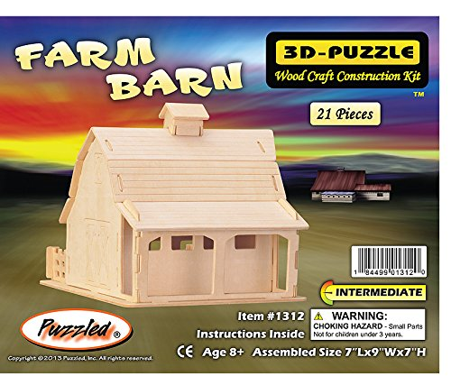 Puzzled 1312 Farm Barn 3D Natural Wood Puzzle - 21 Pieces -Pack of 6