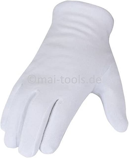 Guantes de algodón color blanco (se puede elegir tamaño 7 (S), 8 ...