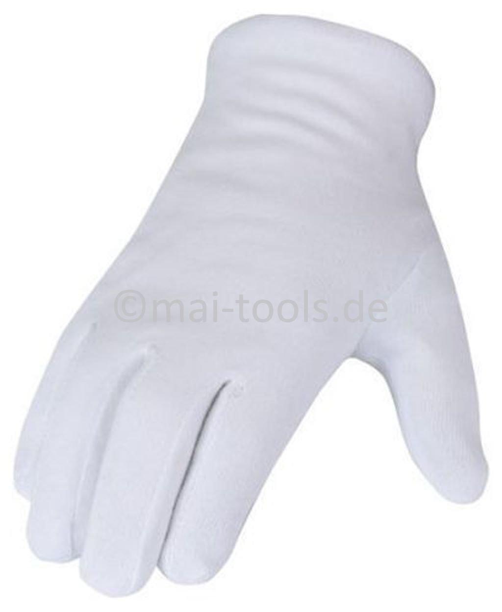 Baumwollhandschuhe weiß (wählbar Gr. 7 (S), 8 (M), 9 (L), 10 (XL), 11 (XXL), Spar-Pack: 1 Paar bis 300 Paar) (240, 10 / XL)