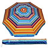 AMMSUN 6.5 ft Outdoor Patio Beach Umbrella Sun Shelter with Tilt Air Vent Carry Bag Multicolor Red