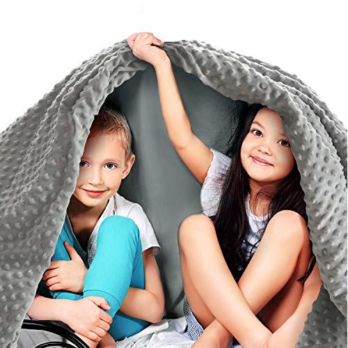 Quility-Cotton-41-by-60-in-for-Single-Size-Bed-7-lbs-Kids-Weighted-Blanket-Removable-Duvet-Cover-Grey