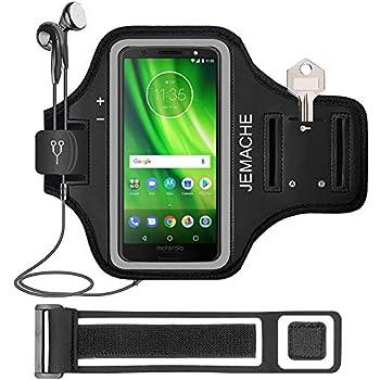 Moto G6 Plus Armband, JEMACHE Gym Run Workout Water Resistant Arm Band Case for Motorola Moto G6 Plus with Key/Card Holder (Black)