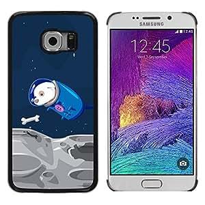 Be Good Phone Accessory // Dura Cáscara cubierta Protectora Caso Carcasa Funda de Protección para Samsung Galaxy S6 EDGE SM-G925 // Funny Flying Space Dog