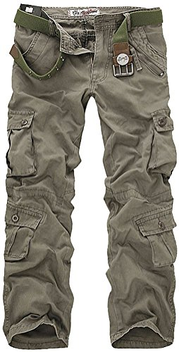 Leward Men's Casual Outdoors Active Military Army Cargo Camo Camouflage Combat Work Pants Trousers (30, Army Green)