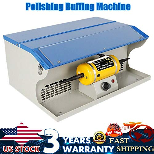 Polishing Buffing Machine Dust Collector w/Light, 200W Tabletop Bench Jewelry Polisher, 0-8000 RPM, Multi-Use Heavy Duty Power Tool, USA Stock