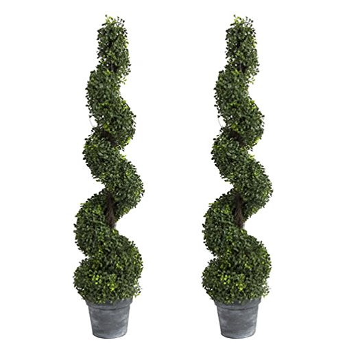Evergreen Topiary (TWO Pre-potted 4' Spiral Boxwood Artificial Topiary Trees. In Plastic Pot)