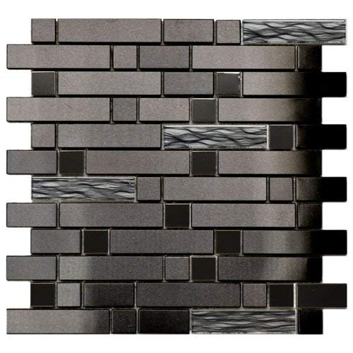 Black Stainless With Black Wave Glass Mosaic Tile - Kitchen Backsplash/Bath Backsplash/Wall Decor/Fireplace Surround ()