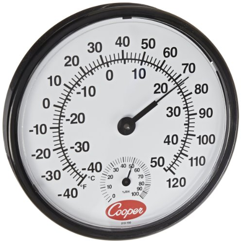 Cooper-Atkins 212-150-8 Bi-Metal Wall Mount Thermometer with Plastic Lens, Humidity Meter, -40/50°C Temperature Range