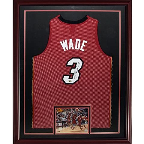 Dwyane Wade Autographed Miami Heat (Red #3) Deluxe Framed Jersey - DWADE Holo - Deluxe Framed Jersey