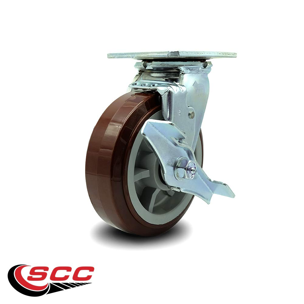 Service Caster - 6'' Heavy Duty Polyurethane Wheel Swivel Caster w/Top Locking Brake - Non Marking - 750lbs/caster