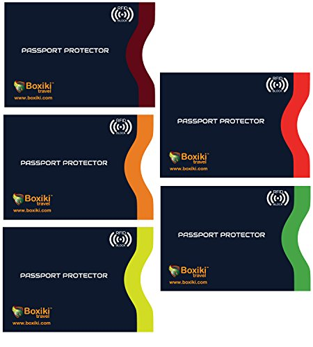 RFID Blocking Passport Sleeves, Set with Color Coding | Identity Theft Prevention RFID Blocking Envelopes by Boxiki Travel (Set of 5 Passport Sleeves) (Navy Blue)