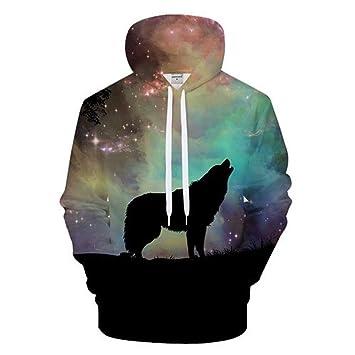 ISAAC ENGLAND Animal Sudaderas con Capucha Galaxy Sudadera 3D Wolf Hoody Hombres chándal Marca con Capucha Streatwear Coat Hombre Pullover 2018: Amazon.es: ...