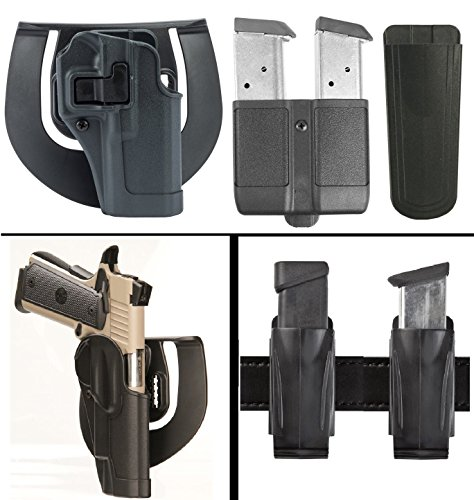 Speed Clip Beretta Cqc Platform (BlackHawk Beretta 92, 96, M9 Serpa Sportster Paddle Holster, Gray + Double Mag Case Single Stack 9mm .40 .45 10mm .357 Sig + Ultimate Arms Gear Multi)