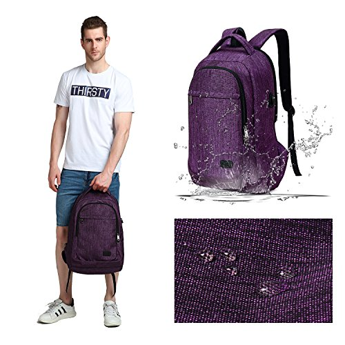 MarsBro Laptop Backpack, Anti Theft Business Water Resistant 15.6 Inch with USB Charging Port Travel College Computer Bag, Purple by MarsBro (Image #6)