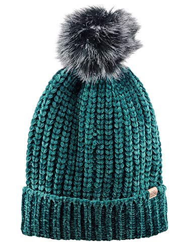 D&Y Warm Knit Chenille Cuffed Style Beanie with Cute Faux Fur Pom Finish, Teal