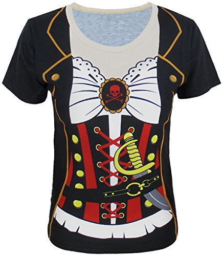 Funny World Women's Pirate Costume T-Shirts (XL, Black)