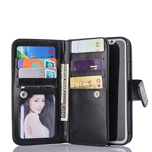 Black Friday Deals Cyber Monday Deals For iPhone X Wallet Case,Valentoria Leather Wallet Case Magnetic Detachable Slim Back Cover Card Holder Slot Wrist Strap Case for iPhone X 5.8