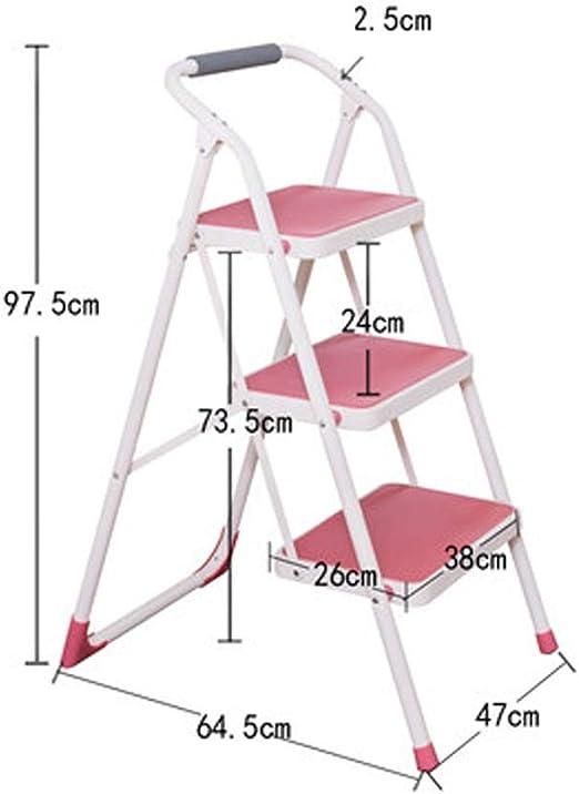 QYJpB Escaleras Escaleras de tijera, escalera de 3 escalones Escalera de tijera antideslizante Ligera Multiuso, Escalera de metal plegable Banda de rodadura Deslizante-47x64.5x97.5cm (Color : Pink): Amazon.es: Bricolaje y herramientas