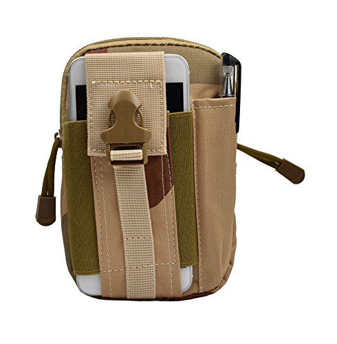 Hynice Tactical Pouch[Waterproof Waist Pack][Fanny Pack] Compact[Tactical Molle Pouch EDC Utility Gadget Belt Waist Bag with Cell Phone Holster] for iPhone 7 Plus (Desert Camouflage)