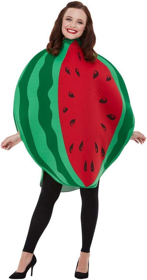 Amakando Cómico Disfraz de melón para Adulto / Verde-Rojo ...