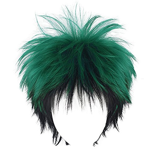 Mersi Mens Anime Cosplay Wig Green Black Short Fluffy Wig Male Costume Wigs S022