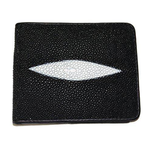 Stingray Insert - Classic Genuine Stingray Leather Bi-Fold Wallet w/ Left Flap (Black-Back Pocket)