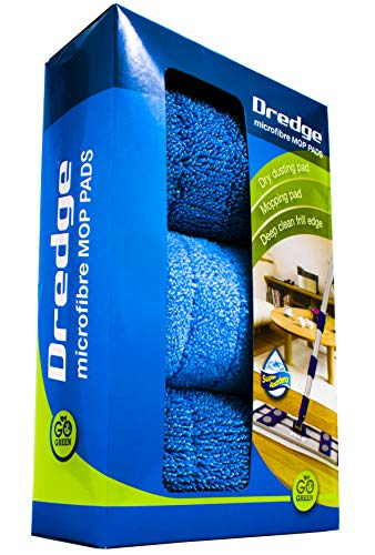 3-Pack 15.5 Drag Resistant Microfiber mop pad Refills for Hardwood Tile Laminate and Stone Floors. Dredge Replacement Pads. Best All in one Multi-Task Reusable Floor Care kit |Dry & Wet Cleaning.
