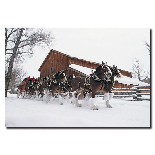 (Clydesdales Snowing in Front of a Barn by Budweiser, 16x24-Inch Canvas Wall Art)