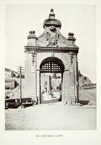 1907-print-alcantara-gate-bridge-spain-coat-arms-toledo-historic-landmark-targus-original-halftone-p