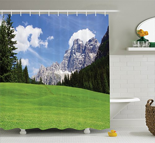 nature landscape decor shower curtain set by ambesonne picturesque mountain with rural road view of italian country modern print bathroom accessories