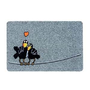Xclou 274521 Flocky Trend - Felpudo antideslizante (60 x 40 cm), diseño de cuervos