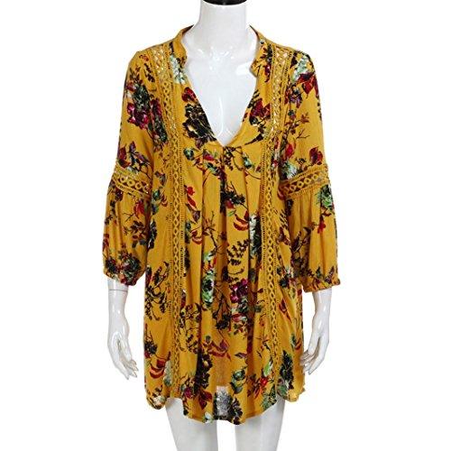 De Estampado Largos Casuales De Estampado Playa Cortas Amarillo Mujer Vestidos Flor Bohemios Vestidos Mangas De Verano Vestidos Vestido Gusspower con Sw0Tzvn
