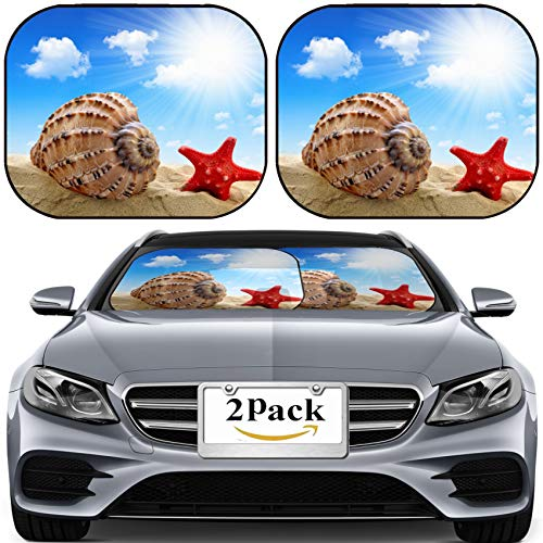 MSD Car Sun Shade for Windshield Universal Fit 2 Pack Sunshade, Block Sun Glare, UV and Heat, Protect Car Interior, Image ID: 23448128 Conch Shell with Starfish on Beach (Conch Shell Offering)