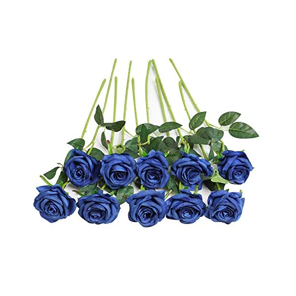 JUSTOYOU 10pcs Artificial Rose Silk Flower Blossom Bride Bouquet for Home Wedding Decor (Blue)